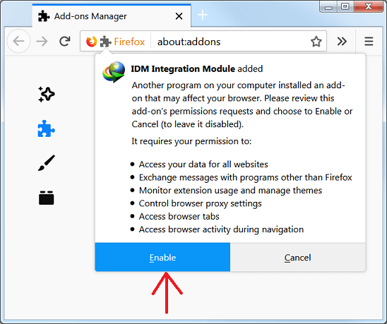 i cannot integrate idm into firefox what should i do