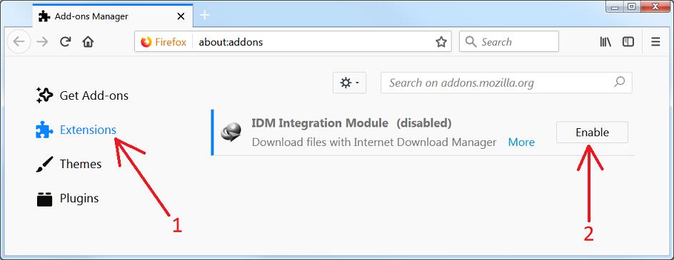 Firefox附加组件窗口
