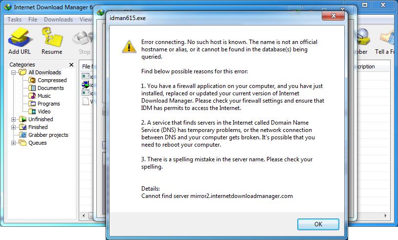 Internet download manager error message