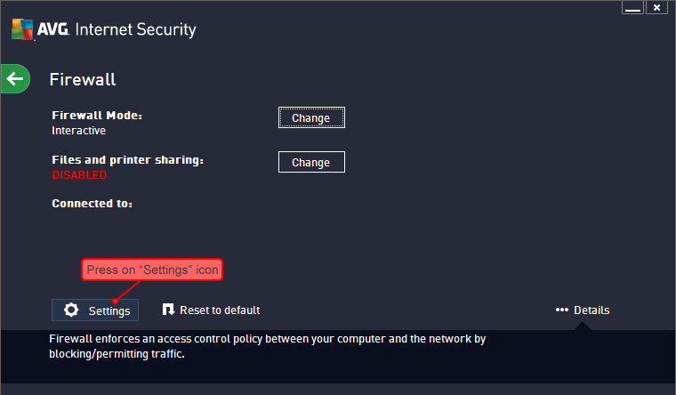 how to deactivate avg firewall