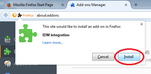 Manual installation of IDM plugin for Firefox and other