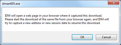 When I try to resume a download from one site, IDM says that