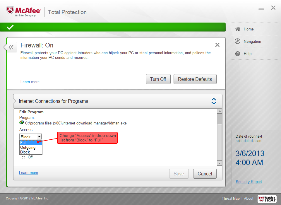 How to configure McAfee Total Protection to work with