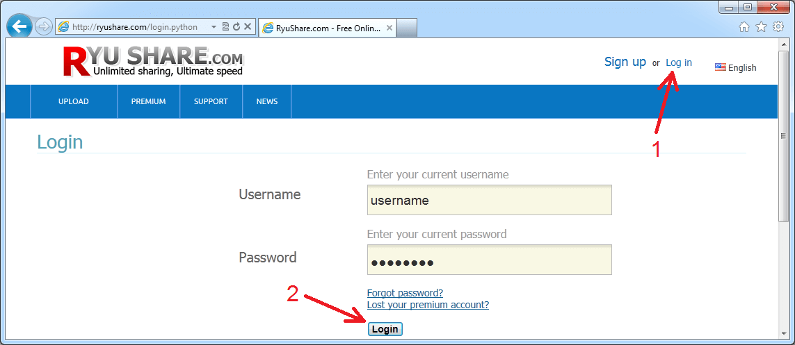 How to configure idm to work with ryushare site?